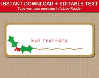 Holly Address Label - Christmas Address Label Stickers PDF - Editable Christmas Return Address Label Template - Printable Address Labels
