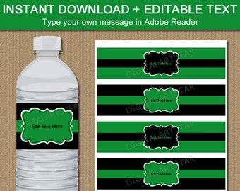 Kelly Green and Black Water Bottle Label Template Printable Birthday Party Decorations, Birthday Party Supplies, Boy Baby Shower Ideas B7