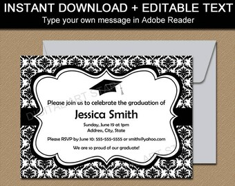 Black and White Graduation Invitation Template, Black and White Graduation Damask Printable Invites, 2021 Graduation Party Downloads