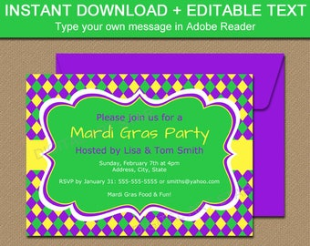 Mardi Gras Invitation Template EDITABLE Mardi Gras Party Invitations Digtial Mardi Gras Invites INSTANT DOWNLOAD Printable Mardi Gras M1