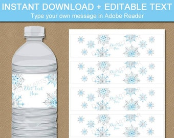 Snowflake Water Bottle Label, Snowflake Baby Shower, Winter Wedding Decorations, Melted Snowman Labels, Winter Bridal Shower Decorations