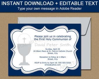 First Communion Invitation Template Editable Navy Gold Etsy
