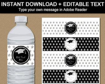 Graduation Water Bottle Label PDF, Graduation Party Decorations, High School Graduation Party Idea, Black White Silver Decorations G10