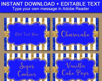 Royal Blue and Gold Printables, Royal Blue and Gold Baby Shower Labels, Royal Blue and Gold Birthday Ideas, Glitter Candy Buffet Labels B4