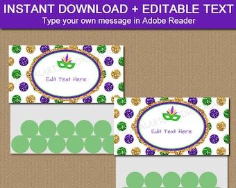 Mardi Gras Bag Toppers - Mardi Gras Party Favors - Printable Mardi Gras Bag Labels Instant Download - Downloadable Mardi Gras Bags Kids M2