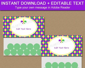 Mardi Gras Party Favor Bag Toppers, Printable Bag Toppers, Mardi Gras Bags Kids, Mardi Gras Birthday Candy Bags, Baby Shower Favor Bags  M1