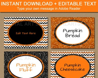 Halloween Labels, Halloween Place Cards, Halloween Food Labels, Halloween Food Tent, DIY Food Label, Candy Buffet Glitter Label Template B8