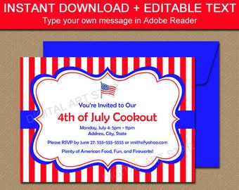 red white and blue invitations etsy