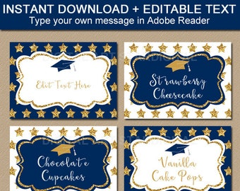 Navy Blue and Gold Graduation Candy Buffet Labels Printable, Downloadable Graduation Label Template, Navy Gold White Decorations G10