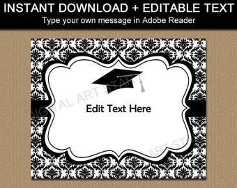 Graduation Sign Printable, Black and White Graduation Party Decorations, Black and White Graduation Sign, Damask Party Sign INSTANT DOWNLOAD