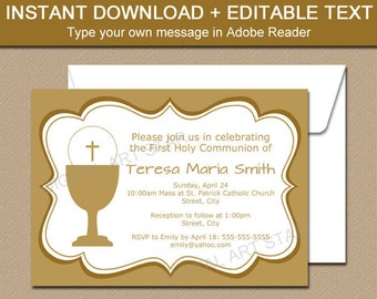 First Holy Communion Invitation Printable, Gold First Communion Invitation Template, EDITABLE PDF, Girl First Communion, Boy Communion FC1