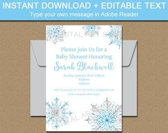 Snowflake Baby Shower Invitation Template, Blue and Silver Snowflake Birthday Invitation Printable, Winter Baby Shower, Holiday Invitation
