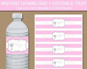 First Communion Water Labels, First Communion Girl Decorations, Pink Communion Decor, Girl Communion Favor, Holy Communion Bottle Labels FC1
