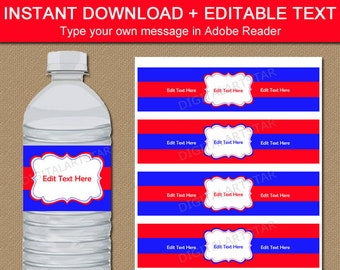 Family Reunion Water Bottle Labels Printable, Red and Royal Blue Water Labels, Family Reunion Party Decorations, Water Bottle Stickers B7