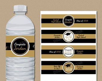 Personalized Graduation Water Bottle Labels - PRINTABLE High School Graduation Labels - Class of 2018 Black and Gold Water Bottle Wraps G2