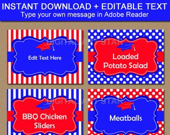 Graduation Labels Template, Graduation Food Labels, Printable Place Cards, Royal Blue and Red Graduation Decorations, Editable Food Tents G4