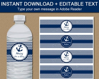 Nautical Baby Shower Water Bottle Labels, Ahoy Its a Boy Baby Shower Printable Anchor Baby Shower Decorations Nautical Baby Shower Theme N1