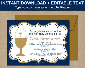 First Communion Invitation Boy, Navy Blue Gold Invitation, Boy First Communion Invite, Printable Communion Invitation Instant Download FC1