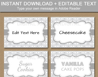 Silver Place Cards, Wedding Labels, Tent Cards, 25th Anniversary Printable Food Card, Food Tents, Candy Buffet Labels, Editable Template PDF