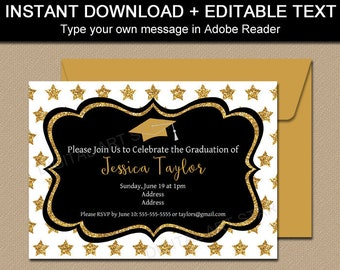Graduation Party Invitation Template Black and Gold Graduation Invitation Instant Download Graduation Announcement Party Decorations G10