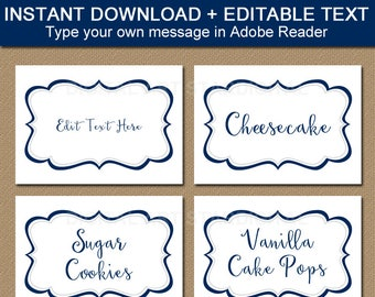 White Wedding Labels, Wedding Place Cards, Candy Buffet Labels Wedding Food Labels, Printable Wedding Stickers, Food Tents, White Tent Cards