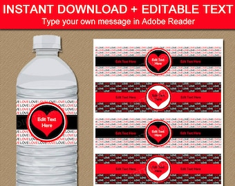 Wedding Water Bottle Labels, Red and Black Bridal Shower Favors, Anniversary Party Favors, Valentine Printable, Wedding Ideas Decoration V8