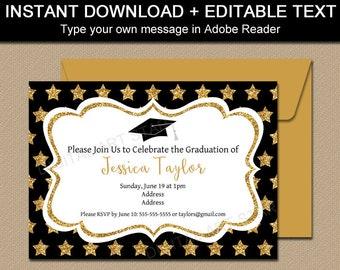 Black and Gold Graduation Invitation Template Download, High School Graduation Party Ideas, Gold Glitter Invite, Star Invitation Card G10