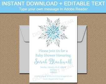 Snowflake Party Invitation, Winter Baby Shower Invitation Boy, Winter Wedding Invitation Template, Blue and Silver Invitation Printable