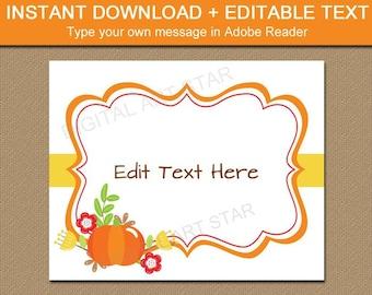 Fall Pumpkin Sign, Pumpkin Photo Prop, Editable Sign Template, Fall Decor Ideas, Pumpkin Baby Shower, Halloween Sign, Thanksgiving Sign B7