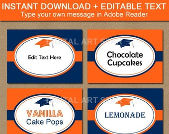 Orange Navy Blue Graduation Candy Buffet Labels, Printable Graduation Party Decorations, Food Tent Card, Editable Place Card, Food Labels G1