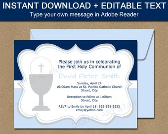 first communion invitation instant download first holy communion invitation card first communion invite printable invitation template fc1