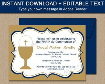 First Holy Communion Invitation Template Download - First Communion Boy Invitation - Gold Communion Invitations Printable - Party Ideas FC1