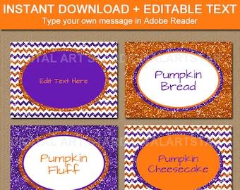 Girl Halloween Labels, Glitter Place Cards, Halloween Food Labels, Glitter Candy Buffet Labels, Purple Halloween Ideas, Editable Template B8