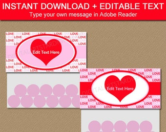 Valentine Party Favor Bags, Treat Bag Toppers, Valentines Day Bag Labels, Printable Bag Tags, Favor Bag Toppers, Candy Bag Toppers V8