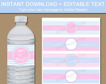 Gender Reveal Water Bottle Labels, Pink and Blue Party Decorations, Twins Shower, Boy Girl Twins Birthday Ideas, Gender Party Favors BB1