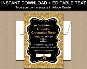 Black and Gold Graduation Invitation Template, Printable Graduation Invitation, High School Graduation Invitation Download Gold Glitter G11