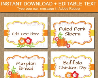 Thanksgiving Place Cards Printable Fall Wedding Place Cards, Autumn Bridal Shower Place Cards, Fall Baby Shower Labels, Fall Food Labels B7
