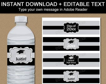 College Graduation Water Bottle Labels, Graduation Water Bottle Stickers, Water Bottle Wraps, Bottle Labels, Black and Silver Decorations G1