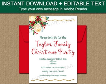 Christmas Invitation Download, Printable Holiday Invitation, Editable Invitation, Floral Invitation, Elegant Christmas Invitation C6