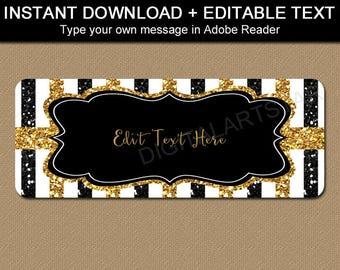 Return Address Labels Printable, 50th Birthday Address Labels, 50th Anniversary Address Label Template, Black Gold Glitter Gift Stickers B4