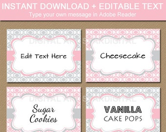 Baby Shower Candy Buffet Labels, Bridal Shower Place Cards, Food Labels Printable, Tent Cards, Girl Baby Shower Labels, Editable Food Cards