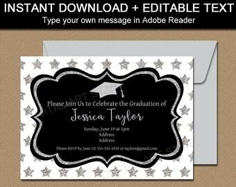 High School Graduation Party Invitation Template, Graduation Invitation Printable, EDITABLE Invitation PDF, Silver Glitter Invitation G10