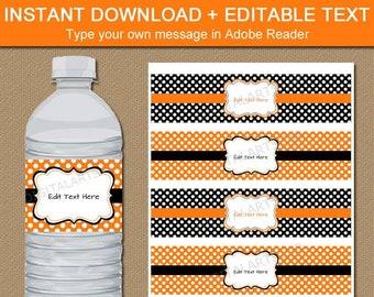 Halloween Drink Label, Halloween Birthday Water Labels, Printable Halloween Bottle Labels, Orange and Black Party, Polka Dot Water Label BB7