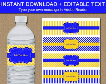 Blue and Yellow Birthday Water Bottle Labels, Royal Blue and Yellow Baby Shower Decorations Boy, 90th Birthday Favor, 80th Birthday Ideas B3