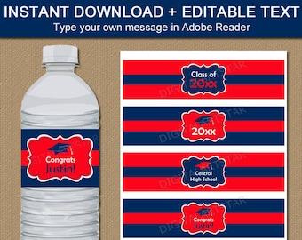 Graduation Party Ideas, Graduation Water Bottle Sticker Template, Downloadable High School Graduation Water Bottle Labels Red Navy Blue G1