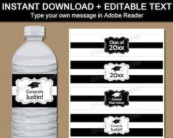Black and White Graduation Water Bottle Label Template - High School Graduation Party Idea - Black and White Graduation Party Decorations G1