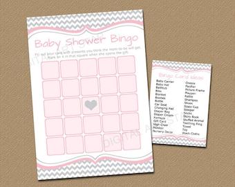 Baby Shower Bingo Download, Girl Baby Shower Bingo Cards Gray Chevron Baby Shower Games Printable, Baby Shower Ideas, Shower Game Ideas, BB1