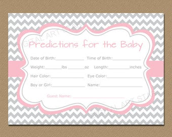 Baby Predictions, Predictions for the Baby Printable, Girl Baby Shower, Pink Gray Chevron Printable Baby Shower Games, Baby Shower Ideas BB1