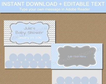 Baby Boy Shower Goodie Bag Toppers - Baby Blue and Grey Baby Shower Bag Labels - DIY Baby Shower Favors - EDITABLE Candy Bag Toppers BB1