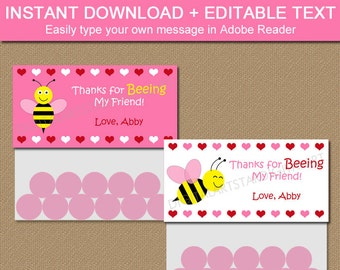 Kids Valentine Favors - Kids Valentine Treat Bag Toppers - Bumble Bee Bag Toppers - Valentines Day Goodie Bags - Cute Valentine Bag Labels